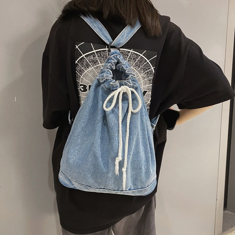 solid color denim drawstring backpack wholesale nihaojewelry  NHGN428084's discount tags