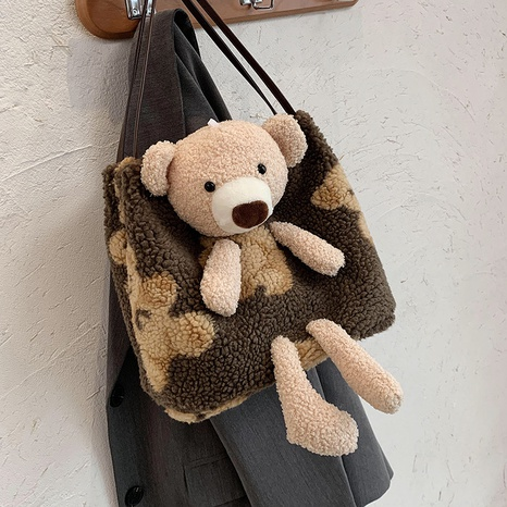 cartoon contrast color large capacity plush bear bag shoulder bucket bag wholesale nihaojewelry NHGN428171's discount tags