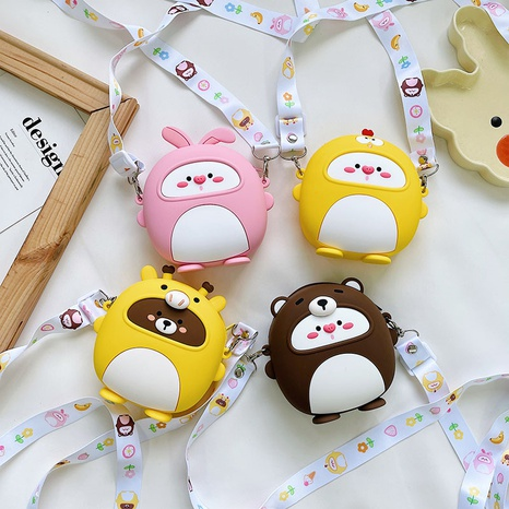 Cartoon bear silicone wide shoulder strap messenger bag wholesale Nihaojewelry NHTG428238's discount tags
