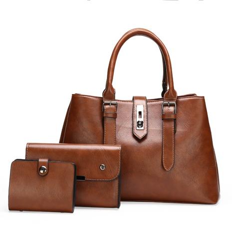solid color large-capacity shoulder handbag three-piece set wholesale nihaojewelry  NHAV428360's discount tags