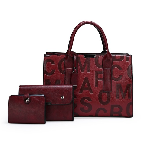 letters pattern single shoulder messenger handbag three-piece set wholesale nihaojewelry  NHAV428361's discount tags
