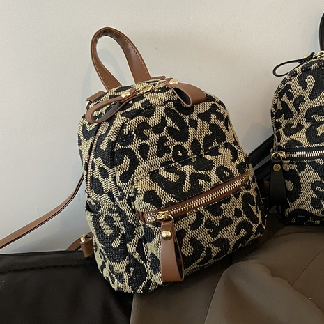 Canvas leopard print high capacity backpack wholesale Nihaojewelry NHLH428423's discount tags