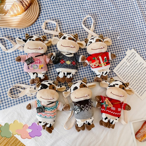 cute cow plush doll messenger bag wholesale Nihaojewelry NHTG428259's discount tags