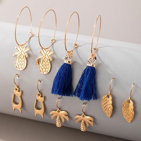 Pendientes de animales de piña de hoja de borla de estilo bohemio conjunto de cinco piezas al por mayor nihaojewelry NHGY429377's discount tags