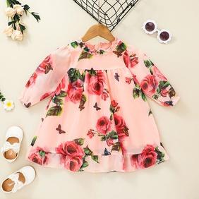 casual flower printing pink long-sleeved dress wholesale nihaojewelry NHSSF428637