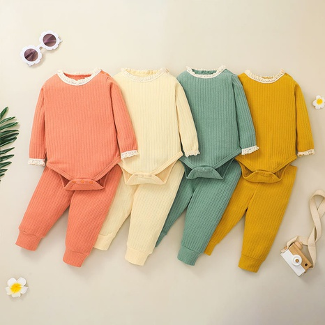 fashion lace circle neck solid color long-sleeved baby romper trousers two-piece suit wholesale nihaojewelry NHSSF428651's discount tags