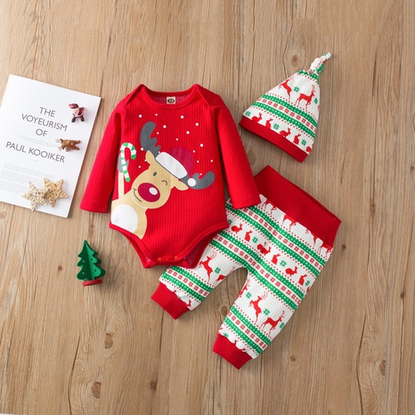 fashion Christmas printing long-sleeved baby romper trousers three-piece set wholesale nihaojewelry NHSSF428653's discount tags
