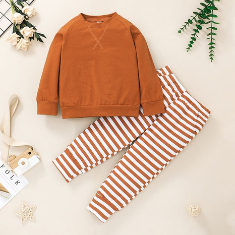 children's fashion pullover striped sweater trousers two piece suit wholesale nihaojewelry NHSSF428653's discount tags