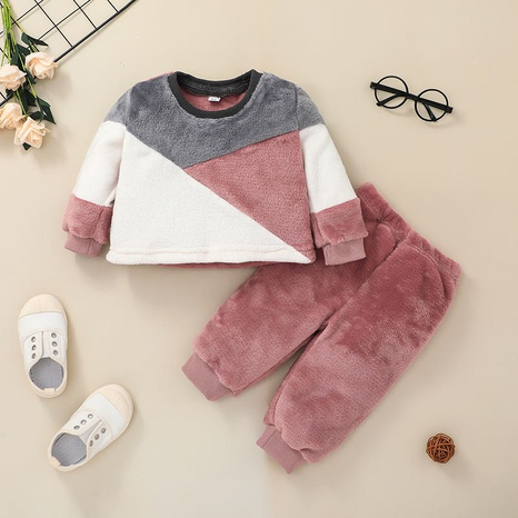 casual contrast color baby pullover trouser plush romper two-piece suit wholesale nihaojewelry NHSSF428655's discount tags