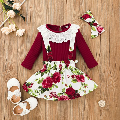 Baby lace neck sling striped flower printed skirt two-piece wholesale nihaojewelry NHSSF428657's discount tags