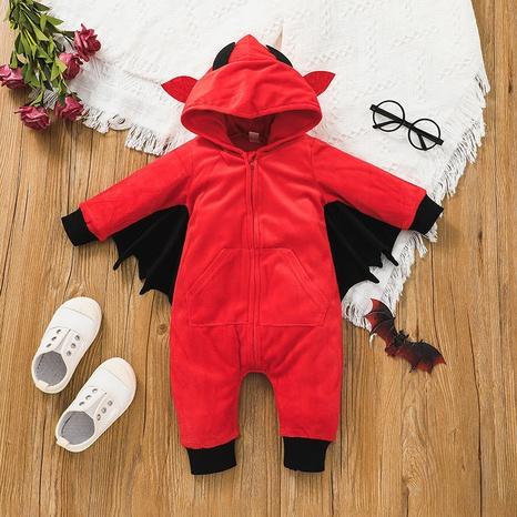 Halloween red long-sleeved bat hooded baby romper wholesale nihaojewelry  NHSSF428659's discount tags
