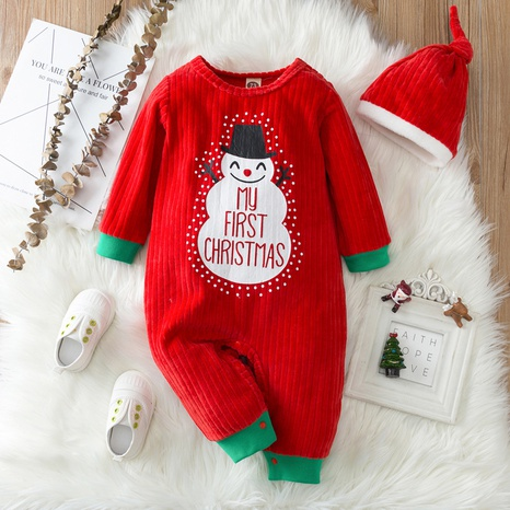Christmas snowman hooded printing red baby one-piece romper wholesale nihaojewelry  NHSSF428661's discount tags