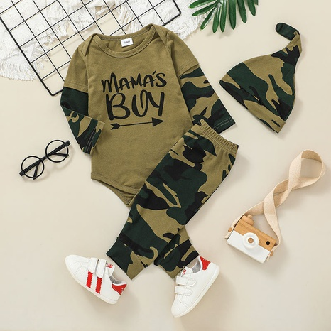 fashion camouflage three-piece baby long-sleeved romper trousers suit wholesale nihaojewelry NHSSF428664's discount tags