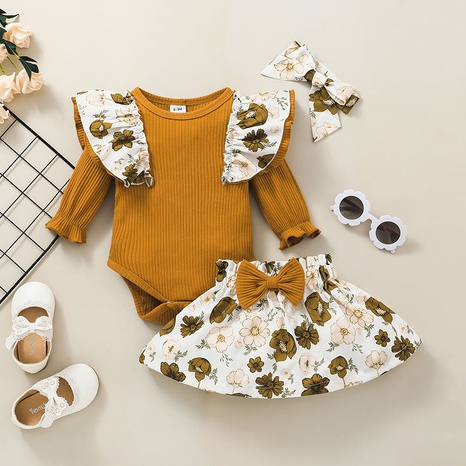 Fashion Striped Flower Printing Short Skirt Romper Two-piece Set Wholesale Nihaojewelry NHSSF428665's discount tags