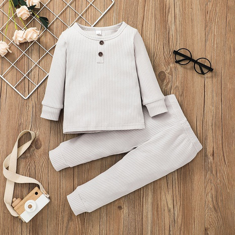 fashion solid color baby long-sleeved T-shirt trousers two-piece suit wholesale nihaojewelry  NHSSF428666's discount tags