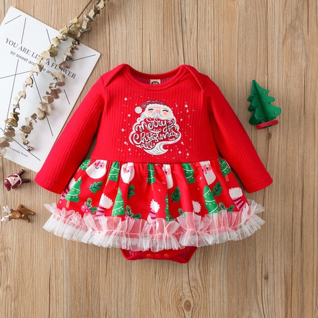 Christmas pattern print long sleeve one-piece skirt wholesale nihaojewelry  NHSSF428667's discount tags