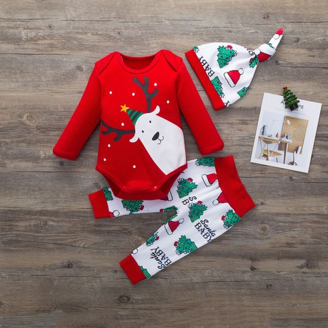 Christmas cartoon pattern romper children's long-sleeved three-piece set wholesale nihaojewelry NHSSF428668's discount tags