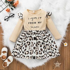 fashion letter long-sleeved leopard print A-line skirt wholesale nihaojewelry NHSSF428670