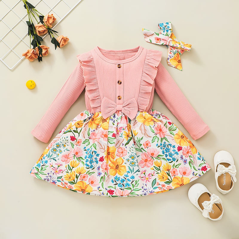 fashion bow longsleeved pit striped flower printed dress wholesale nihaojewelry NHSSF428672