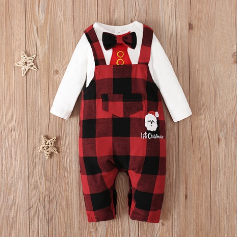 fashion baby long-sleeved romper two-piece checkered contrast color suit wholesale nihaojewelry NHSSF428674's discount tags
