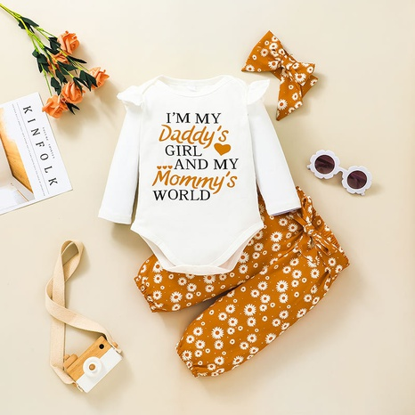 fashion new baby letter long-sleeved romper suit printing two-piece suit wholesale nihaojewelry NHSSF428675's discount tags