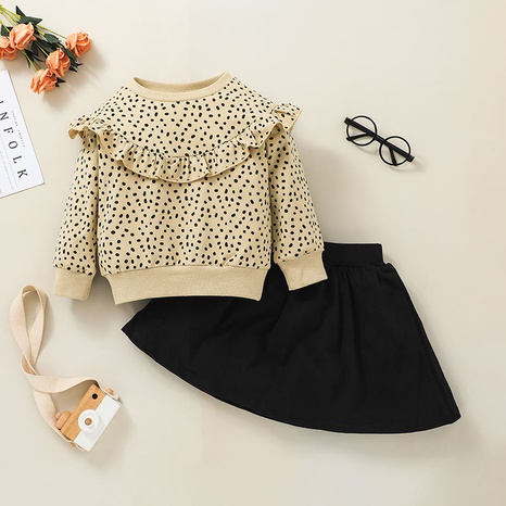 baby leopard print long-sleeved sweater skirt two-piece set wholesale nihaojewelry  NHSSF428676's discount tags
