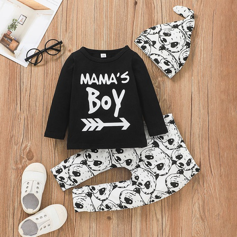 letter panda print long sleeve children pullover top trousers hat three-piece set wholesale nihaojewelry  NHSSF428677's discount tags