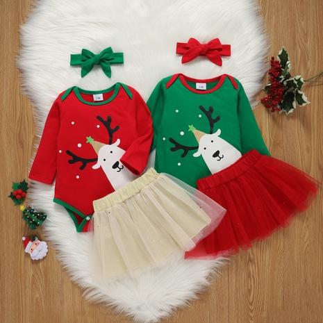 Christmas Cartoon Print Long Sleeve Romper Skirt Two-Piece Set Wholesale Nihaojewelry  NHSSF428678's discount tags
