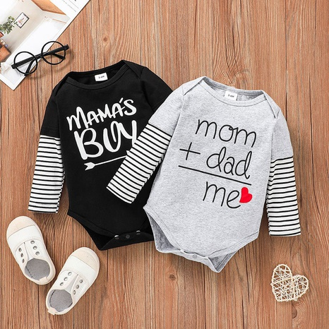 Hit Color Stripe Letter Baby Long Sleeve Triangle Romper Wholesale Nihaojewelry  NHSSF428679's discount tags