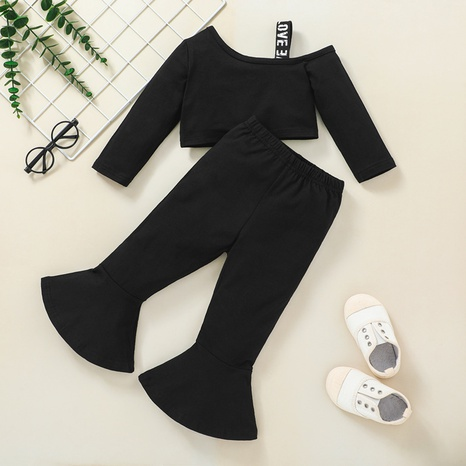 Children's long-sleeved solid color flared pants shirt two-piece set wholesale nihaojewelry  NHSSF428681's discount tags