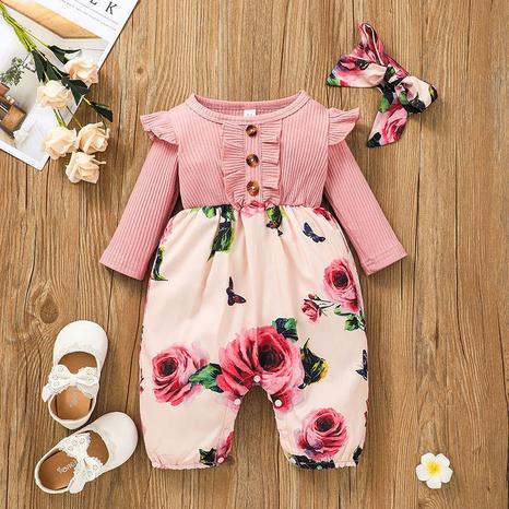 Color Flower Printed Long Sleeve Baby Jumpsuit Wholesale Nihaojewelry  NHSSF428683's discount tags