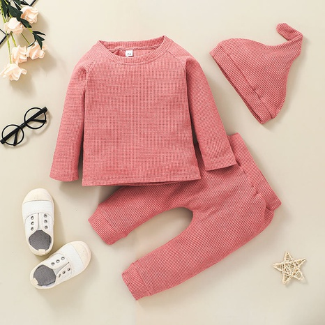 children's round neck solid color jacket trousers two-piece set wholesale nihaojewelry  NHSSF428684's discount tags