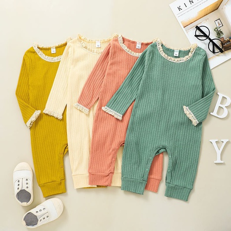 fashion solid color long-sleeved one-piece baby romper wholesale nihaojewelry  NHSSF428685's discount tags