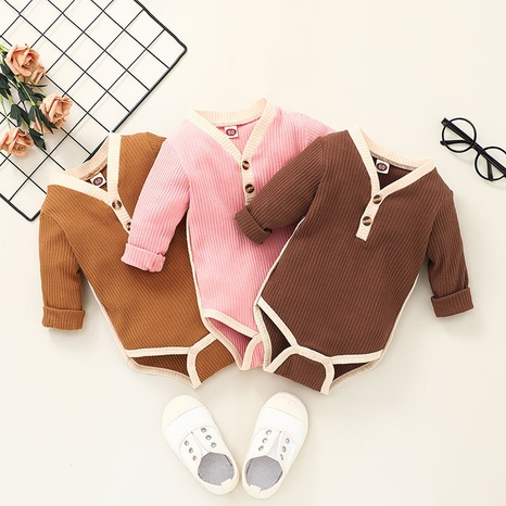 long sleeve button solid color children's romper wholesale nihaojewelry  NHSSF428686's discount tags
