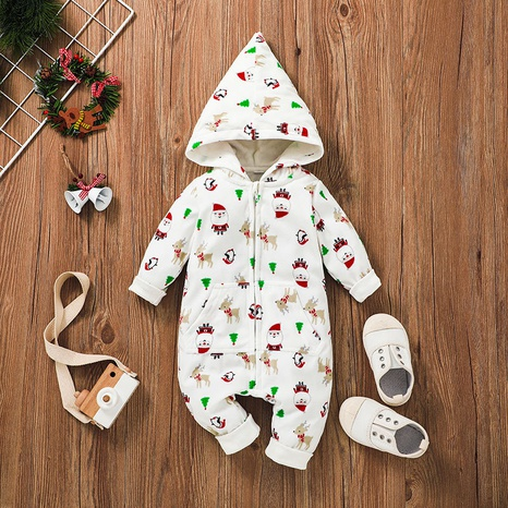 Christmas Print Zipper Hooded Baby One-piece Romper Wholesale Nihaojewelry  NHSSF428687's discount tags