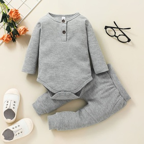 simple children's gray pullover two-piece striped romper trousers suit wholesale nihaojewelry NHSSF428688