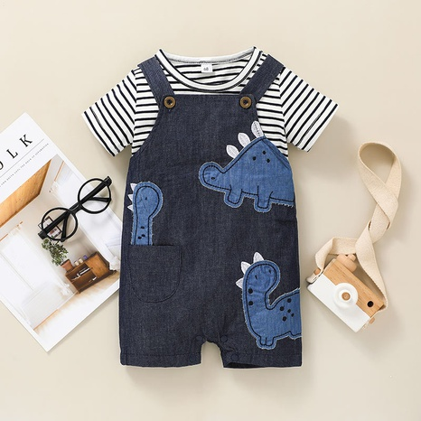 children's new cartoon striped T-shirt suit two-piece wholesale nihaojewelry NHSSF428689's discount tags