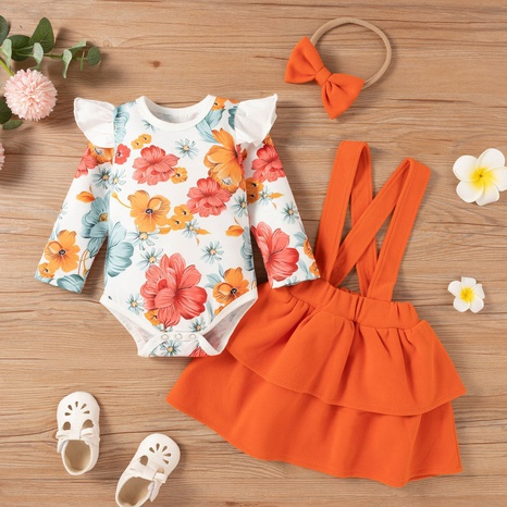 Fashion Children's Infant Printed Romper Pure Color Strap Skirt Two-piece Wholesale Nihaojewelry NHSSF428690's discount tags