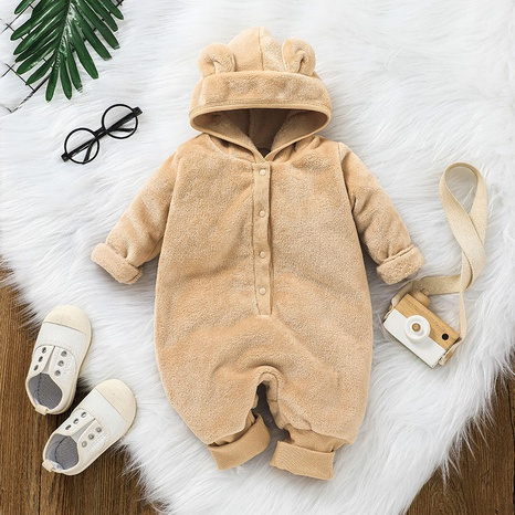 solid color hooded bear ear zipper warm baby one-piece sweater wholesale nihaojewelry  NHSSF428691's discount tags