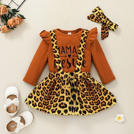 vintage baby new leopard print suspender skirt long-sleeved romper two-piece wholesale nihaojewelry NHSSF428692's discount tags