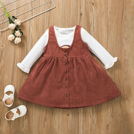 casual children contrast color long-sleeved T-shirt two-piece skirt suit wholesale nihaojewelry NHSSF428693's discount tags