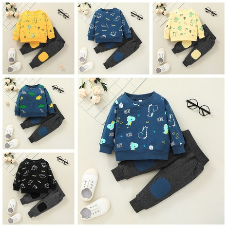 cartoon animal dinosaur print pullover sweater trousers two-piece set wholesale nihaojewelry  NHSSF428694's discount tags