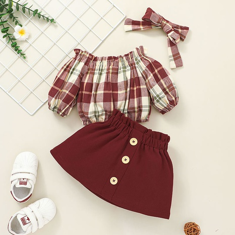 retro plaid long sleeve baby top skirt two-piece set wholesale nihaojewelry  NHSSF428695's discount tags
