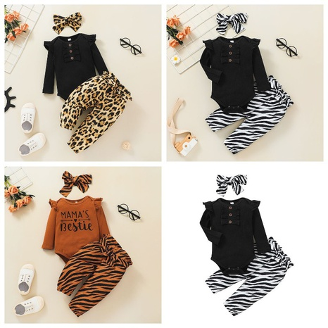 simple long sleeve leopard baby romper trousers two-piece suit wholesale nihaojewelry  NHSSF428697's discount tags