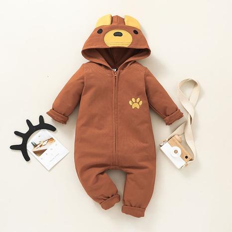 cartoon bear zipper long sleeve baby romper wholesale nihaojewelry  NHSSF428698's discount tags