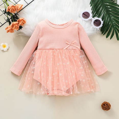pink long-sleeved net yarn baby one-piece dress wholesale nihaojewelry  NHSSF428699's discount tags