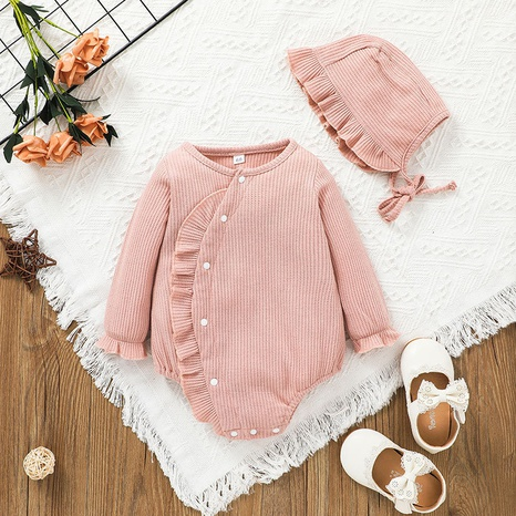 button type long-sleeved pink children's romper wholesale nihaojewelry  NHSSF428700's discount tags