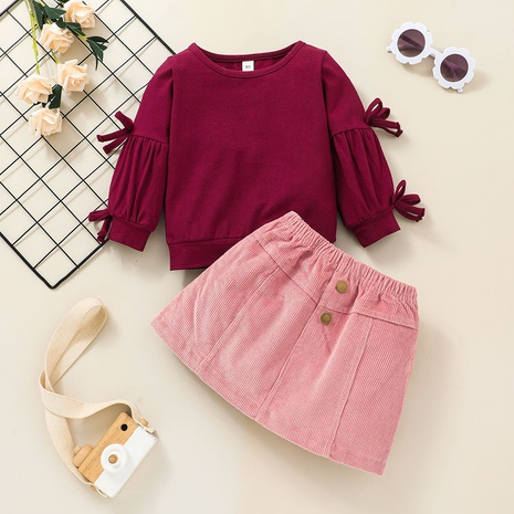 solid color long-sleeved baby sweater skirt two-piece suit wholesale nihaojewelry  NHSSF428706's discount tags