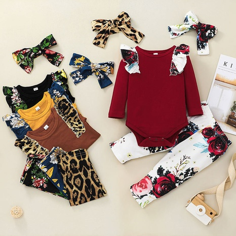 vintage fashion baby long-sleeved romper floral printing two-piece suit wholesale nihaojewelry NHSSF428709's discount tags