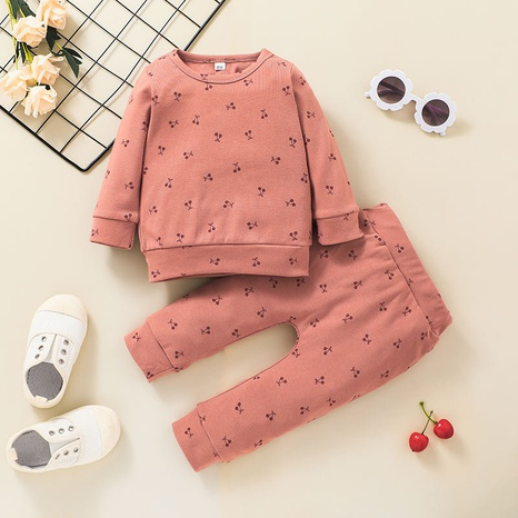 fashion children's solid color sweater trousers printed round neck two-piece wholesale nihaojewelry NHSSF428711's discount tags